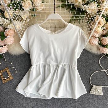 Дамска блуза с цип на гърба и къс ръкав