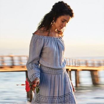 Плажна дамска дълга рокля с дълъг ръкав и дантела