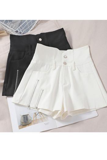 Модерни дамски панталони с висока талия и елемент цип