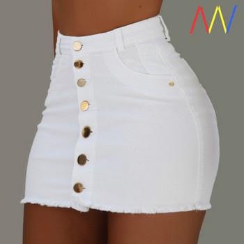 Къса дънкова пола с копчета