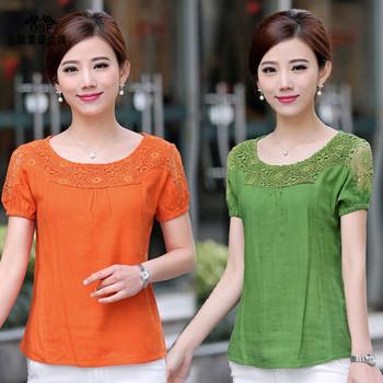 Дамска блуза с къс ръкав и дантелена горна част в няколко цвята оранжев,светлосин, зелен и бордо