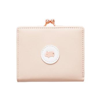 Γυναικείο πορτοφόλι με μεταλλική στερέωση σε τετράγωνο σχήμα