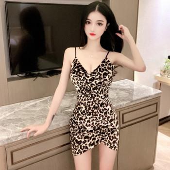 Дамска рокля с презрамки с леопардови шарки