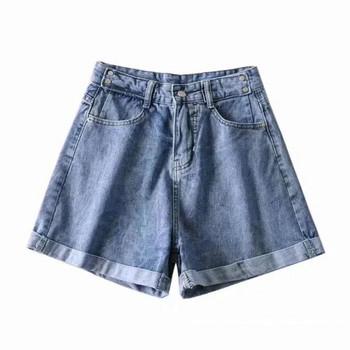 Дамски къси панталони с висока талия от деним