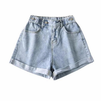 Къси дамски панталони от деним с висока талия