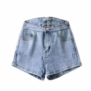 Модерни дамски къси панталони с връзки от деним