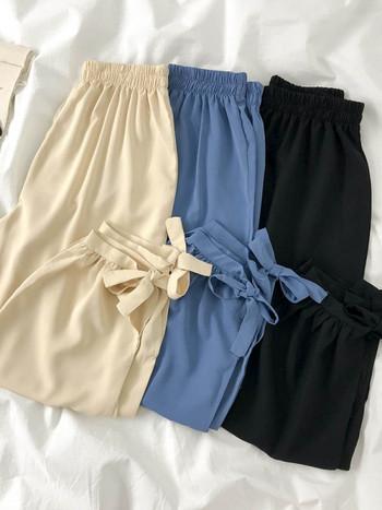 Дамски модерен панталон с ластична талия и връзки