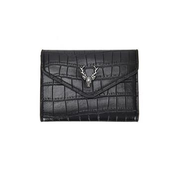 Γυναικείο πορτοφόλι από οικολογικό δέρμα με μεταλλική διακόσμηση σε σχήμα ελαφιού