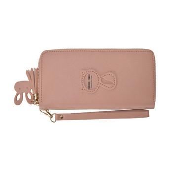 Μεγάλο γυναικείο πορτοφόλι από οικολογικό δέρμα με φερμουάρ και λαβή