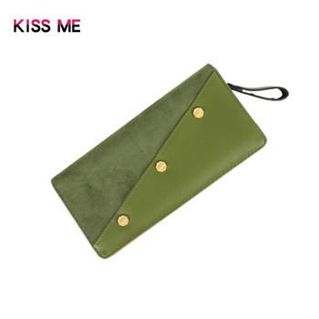 Μοντέρνο γυναικείο πορτοφόλι με φερμουάρ και μεταλλικά στοιχεία