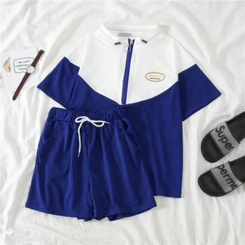 Летен спортен комплект от две части - тениска и къси панталони