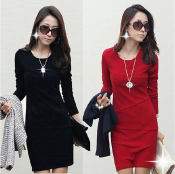 Дамска рокля с дълъг ръкав и дължина над коляното четири модела в черно, червено, тъмносиньо и бежово