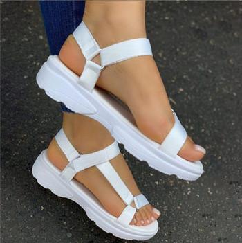 Модерни дамски сандали с висока подметка и велкро лепенки