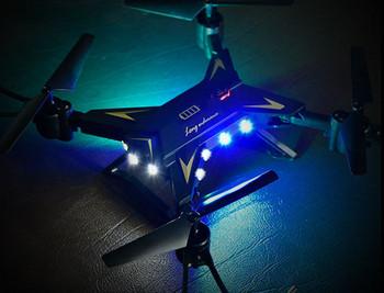 Бял въздушен дрон с LED светлини и издържливост до 25 минути
