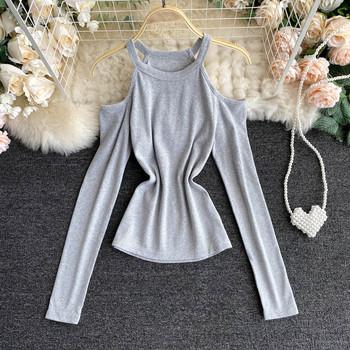 Дамска блуза с голи рамене и дълъг ръкав в няколко цвята
