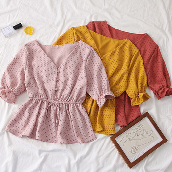 Нов модел дамска блуза с 3/4 ръкави и шпиц деколте