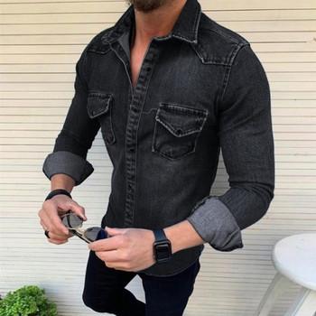 ΝΕΟ μοντέλο ανδρικό τζιν πουκάμισο με κλασικό κολάρο και κουμπιά
