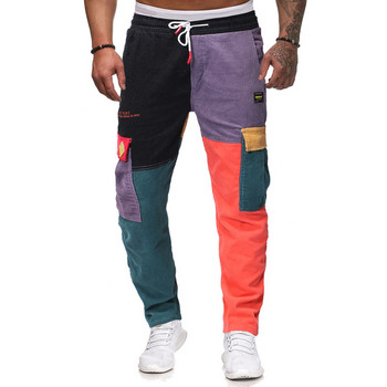 Μοντέρνα ανδρικά παντελόνια με πολύχρωμο μοτίβο και κορδόνια