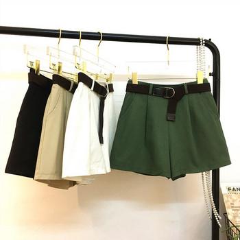 Къси дамски панталони изчистен модел с колан