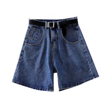 Дамски дънкови къси панталони с колан и висока талия