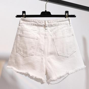 Дамски ежедневни къси панталони с висока талия и разкъсан десен