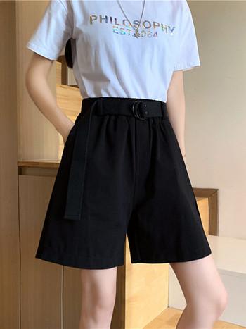 Ежедневни дамски къси панталони с колан в различни цветове