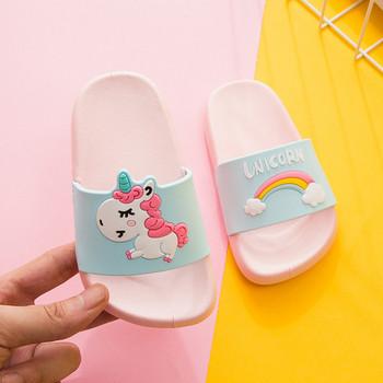 Παιδικές παντόφλες casual με μονόκερο απλικέ σε τρία χρώματα για κορίτσια