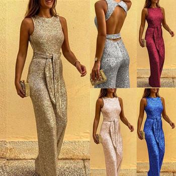 Κομψή γυναικεία ολόσωμη φόρμα με γυαλιστερό εφέ σε διάφορα χρώματα