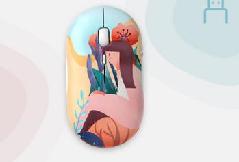 Цветна безжична мишка за лаптоп