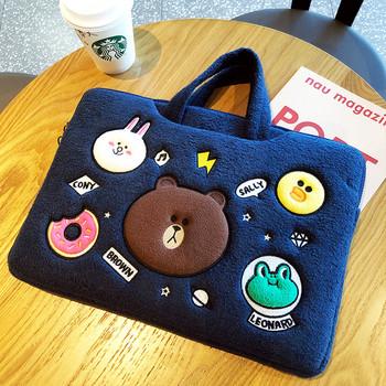 Плюшена чанта за 15.6 инчов лаптоп с къси дръжки и бродерия