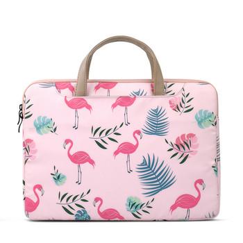 Преносима чанта за 15.6 инчов лаптоп с десен на фламинго