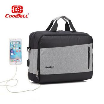 Чанта за 15.6-инчов лаптоп с много отделения и USB порт