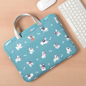 Удобна чанта за 15.6 инчов лаптоп с къси дръжки, преден джоб и десен с кучета