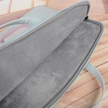 Преносима чанта за 15.6 инчов лаптоп с къси дръжки и цветна апликация на коте
