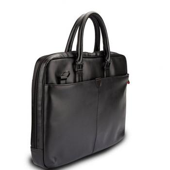 Преносима чанта за лаптоп от еко кожа с преден джоб и къса дръжка