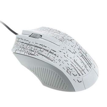 Бяла мишка с LED светлини и кабел