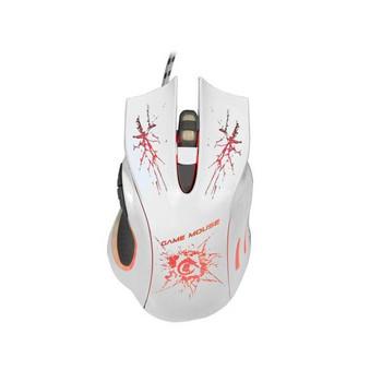 Бяла оптична мишка с USB кабел и LED светлини