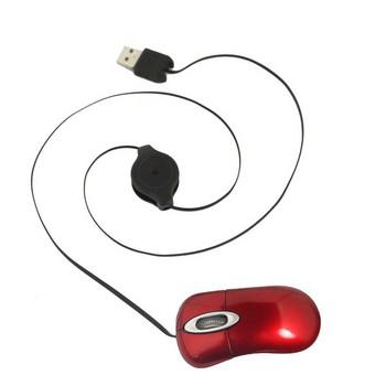 Червена мини мишка с прибиращ се USB кабел