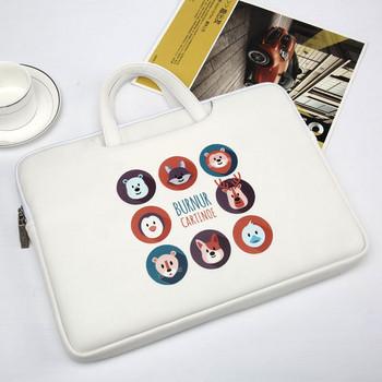 Бяла тънка чанта за 15.6 инчов лаптоп с апликация