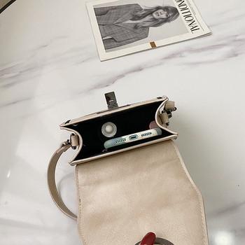 Стилна дамска чанта с катарама от еко кожа