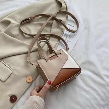 Стилна дамска чанта в квадратна форма с дълга дръжка