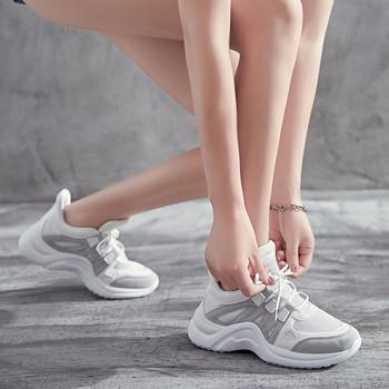 Модерни дамски маратонки висок модел от еко кожа и текстил