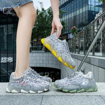 Нов модел дамски маратонки с мрежа и камъни