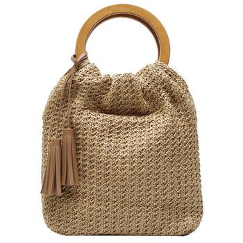 Πλεκτή γυναικεία τσάντα με φούντα