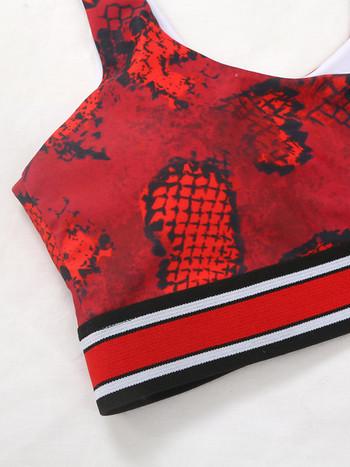 Дамски бански костюм със змийски десен в червен цвят