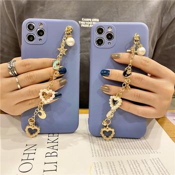 Калъф за Iphone 11 Pro Max  в син цвят с метална верижка