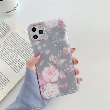 Силиконов калъф за Iphone 11 Pro Max  с флорален десен - два модела