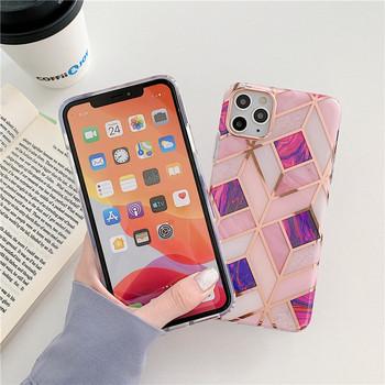 Силиконов калъф с мраморен ефект и геометрични фигури за Iphone 11 Pro Max