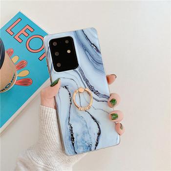Калъф с мраморен ефект  Samsung S20 Plus + пръстен