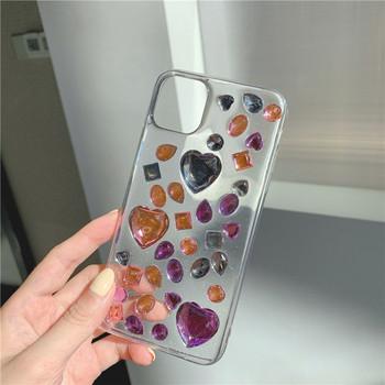 Прозрачен силиконов калъф с цветни камъни за Iphone 11 Pro Max - два модела